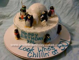 Homemade Penguin Birthday Cake