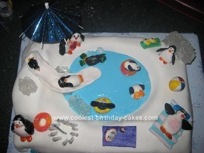 Astonishing Cool Homemade Penguin Pool Birthday Cake Design Funny Birthday Cards Online Alyptdamsfinfo