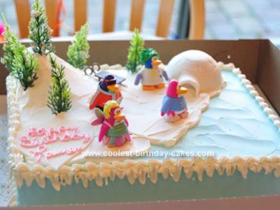 Homemade Penguin Club Birthday Cake