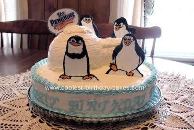 Homemade Penguins of Madagascar Cake