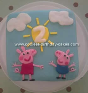 Magnificent Cool Homemade Peppa Pig 2Nd Birthday Cake Funny Birthday Cards Online Alyptdamsfinfo