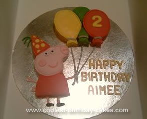 Homemade Peppa Pig Birthday Cake