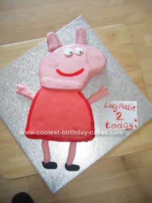 Homemade Peppa Pig Birthday Cake