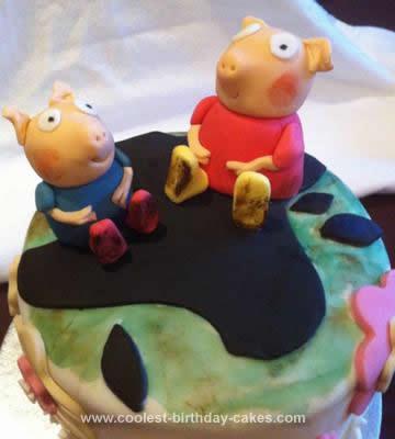 Homemade Peppa Pig in Mud Cake