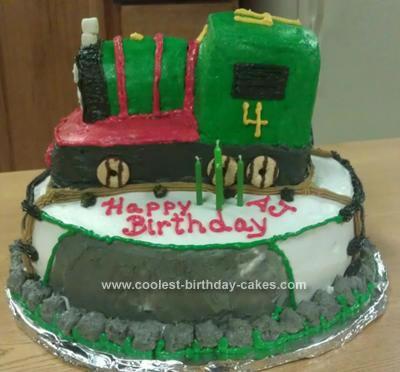 Homemade Percy the Train Birthday Cake