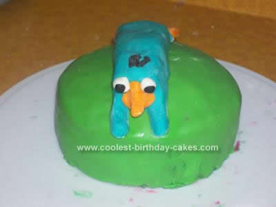 Homemade Perry the Platypus Cake
