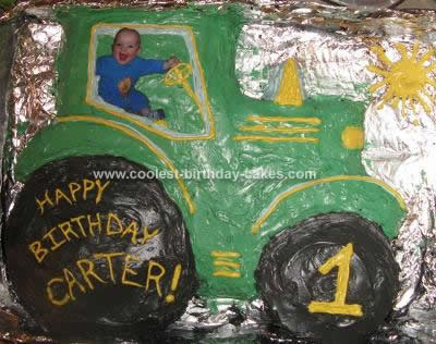 Homemade Personalized Tractor Cake Design