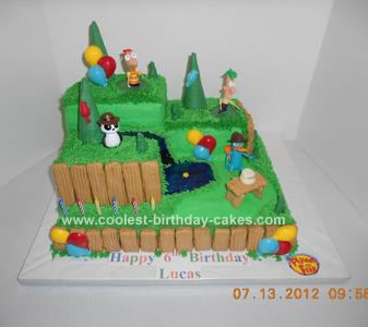 Homemade Phineas and Ferb Birthday Cake
