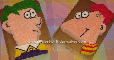 Homemade Phineas & Ferb Birthday Cake