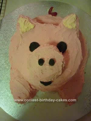 Homemade Pig Birthday Cake