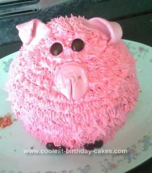 Homemade Pig Birthday Cake