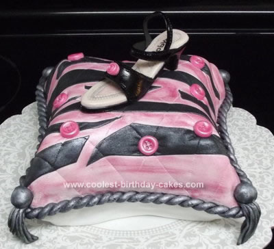 Homemade Pillow with Shoe Cake
