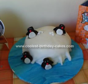 Homemade Pingu Birthday Cake