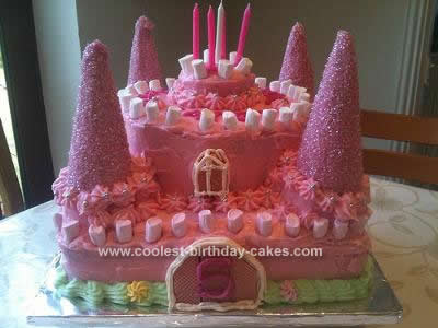 Homemade Pink Castle Birthday Cake