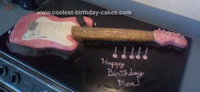 Homemade Pink Fender Guitar Cake