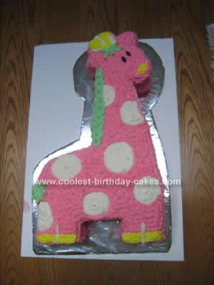 Homemade Pink Giraffe Baby Shower Cake