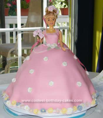 Homemade Pink Princess Birthday Cake