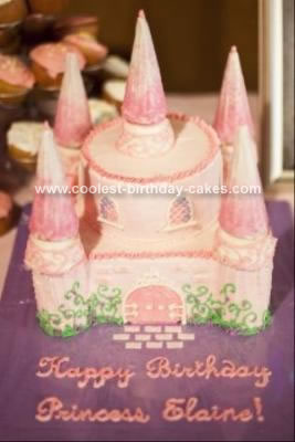 Homemade Pink Princess Castle Cake