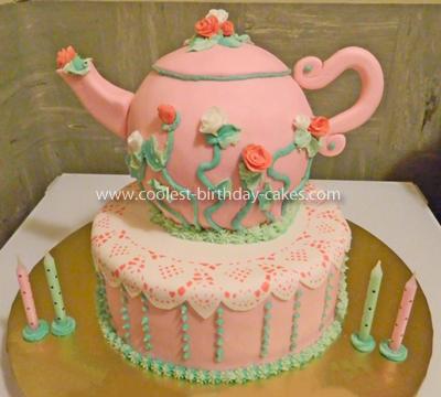 Homemade Pink Teapot Cake