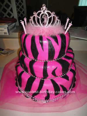 Homemade Pink Zebra Print Birthday Cake