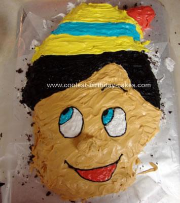 Homemade Pinocchio Birthday Cake
