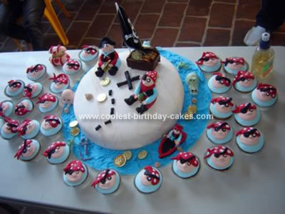 Homemade Pirate Birthday Cake And Cupcakes