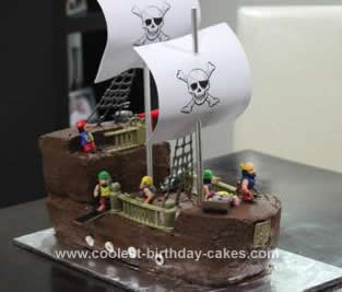 Homemade Pirate Ship 3rd Birthday Cake