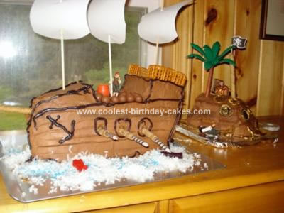 Homemade Pirate Ship and Island Birthday Cake