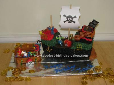 Homemade Pirate Ship and Treasure Cake