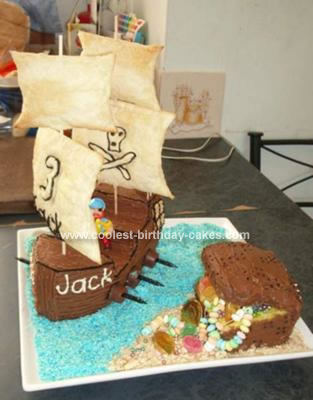 Homemade  Pirate Ship and Treasure Chest Cake