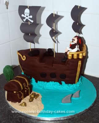 Fabulous Coolest Pirate Ship Birthday Cake Birthday Cards Printable Riciscafe Filternl