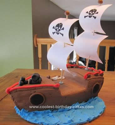 Homemade Pirate Ship Birthday Cake