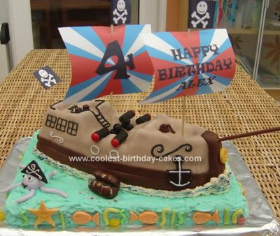 Remarkable Coolest Pirate Ship Birthday Cake Birthday Cards Printable Inklcafe Filternl