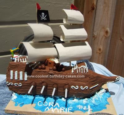 Pleasant Coolest Pirate Ship Birthday Cake Birthday Cards Printable Riciscafe Filternl