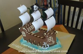 Fantastic Coolest Pirate Ship Cake Birthday Cards Printable Riciscafe Filternl