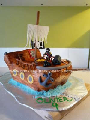 Homemade Pirate Ship Cake Design