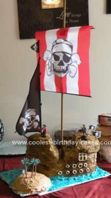 Homemade Pirate Ship Cake with Island Cake