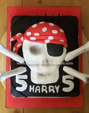 Homemade Pirate Skull Birthday Cake