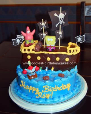 Homemade Pirate Spongebob Birthday Cake