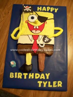 Homemade Pirate Spongebob Birthday Cake