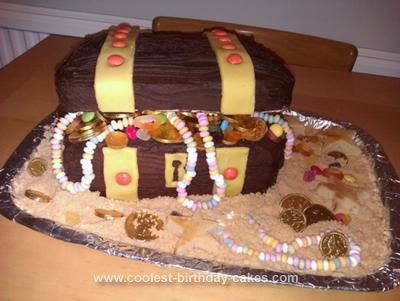 Homemade Pirate Treasure Chest Birthday Cake