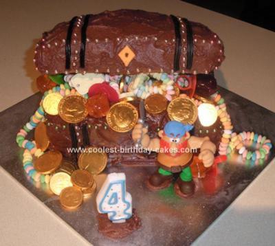 Homemade Pirate's Treasure Chest Birthday Cake
