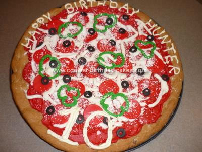 Homemade  Pizza Birthday Cake