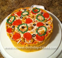 Homemade Pizza Birthday Cake Design