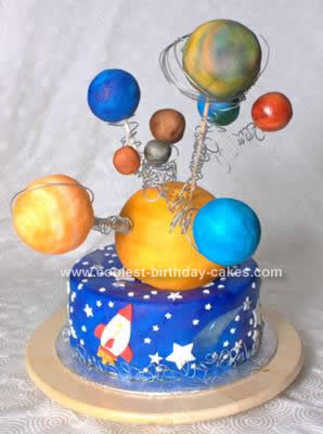 Homemade Planet/Space/Solar System Cake