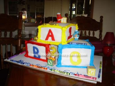 Homemade Play Block Birthday Cake