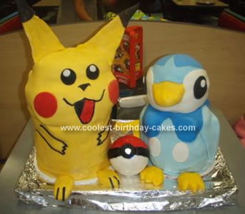 Homemade Pokemon Pikachu And Piplup Cake