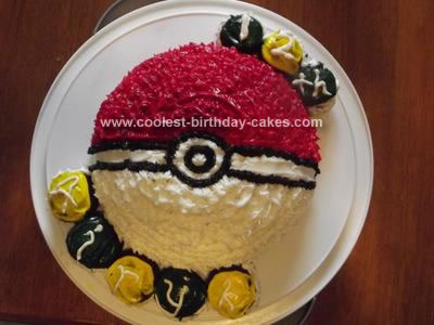 Homemade Pokemon Pokeball Birthday Cake