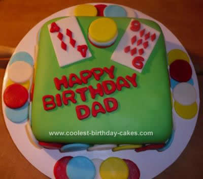 Homemade Poker Cards Chips Birthday Cake Design