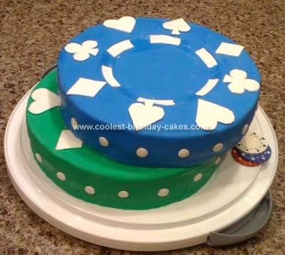 Homemade Poker Chip Birthday Cake